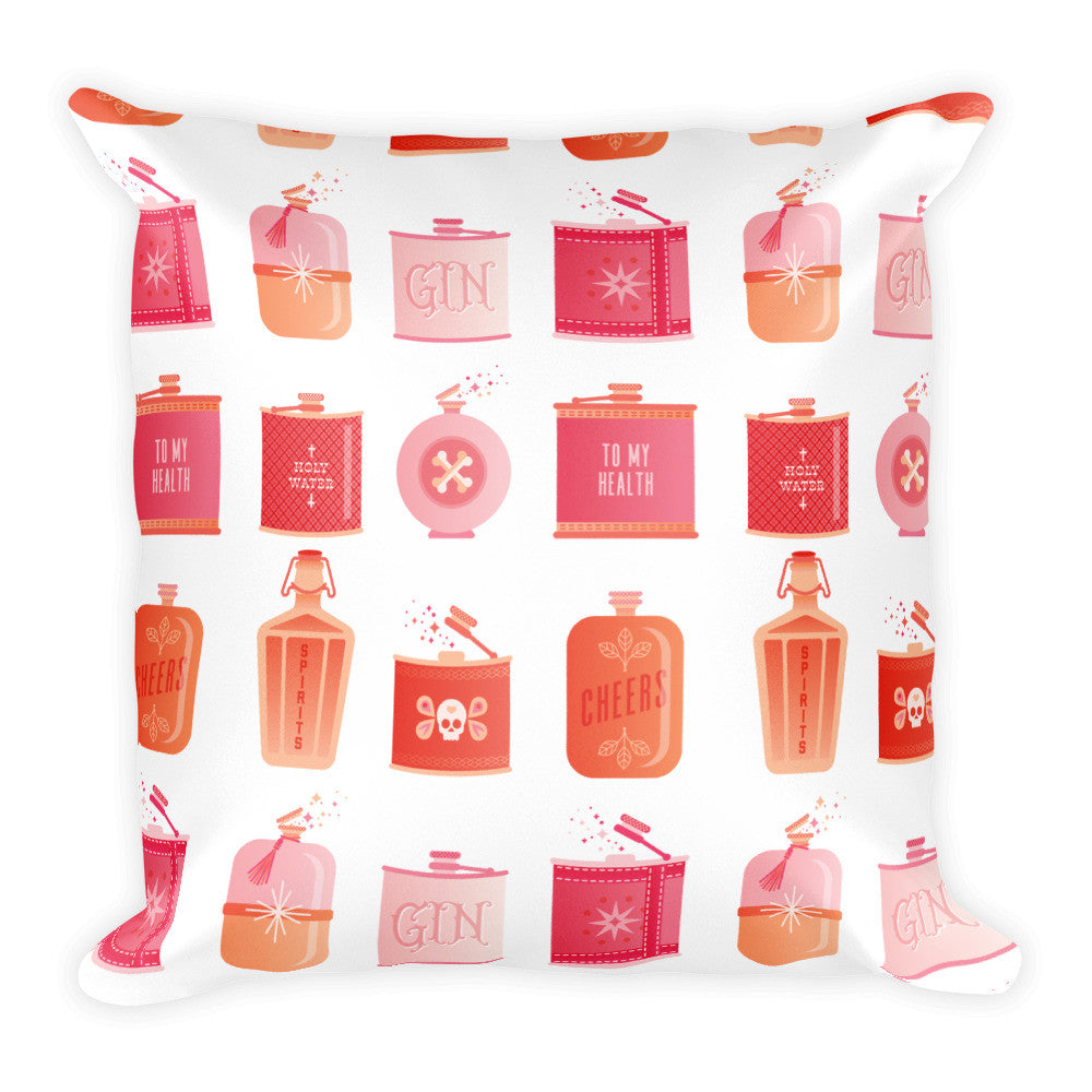 Flask Collection – Peachy Pink Palette • Square Pillow
