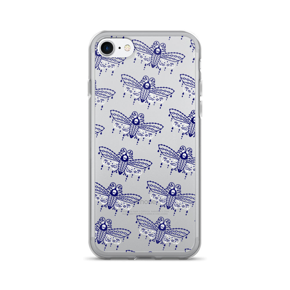 Death's Head Hawkmoth – Navy and White • iPhone 7/7 Plus Case (Transparent)