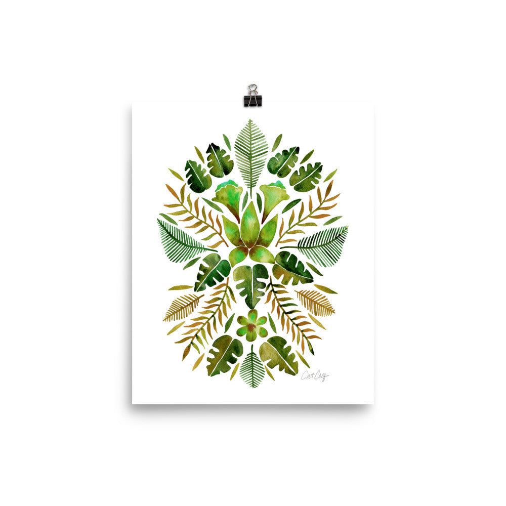 Tropical Symmetry – Olive & Green Palette • Art Print