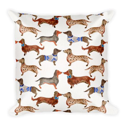 Dachshunds – White Background  •  Square Pillow