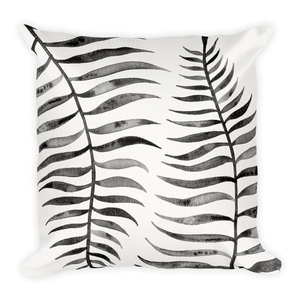 Palm Leaf – Black Palette  •  Square Pillow