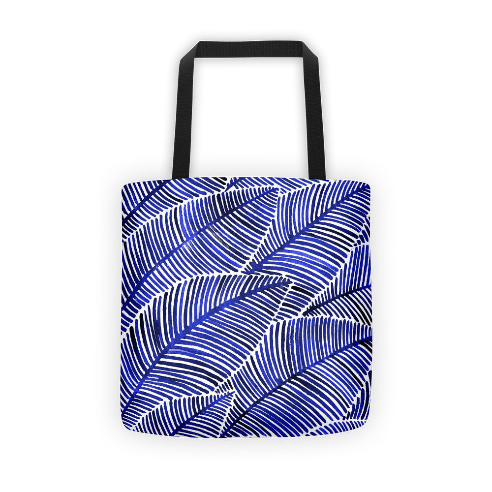 Tropical Leaves – Navy Palette  •  Tote Bag