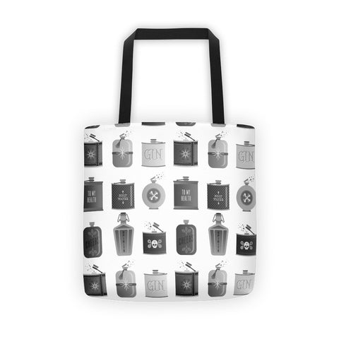 Flask Collection – Black & White Palette • Tote Bag