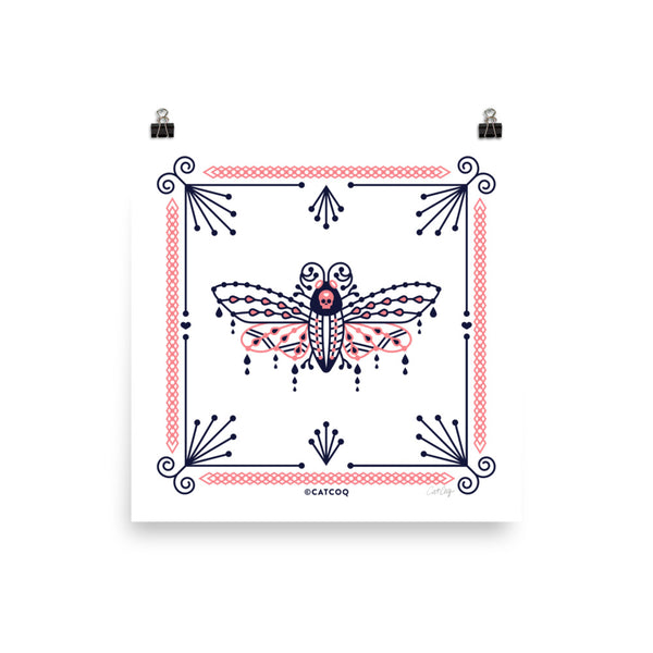 Death's Head Hawkmoth – Blush & Navy Palette • Art Print