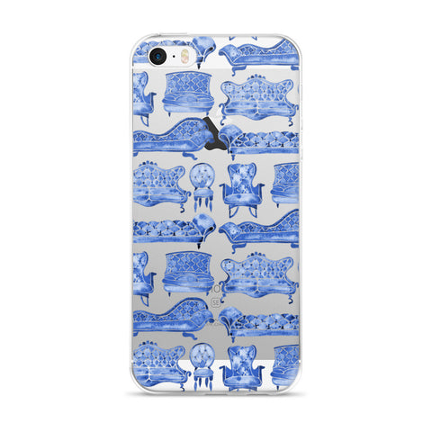 Victorian Lounge – Navy Palette  •  iPhone 5/5s/Se, 6/6s, 6/6s Plus Case (Transparent)