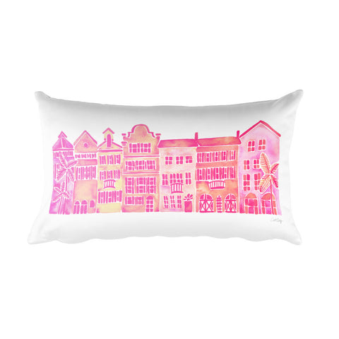 Row of Houses – Pink Palette • Rectangular Pillow