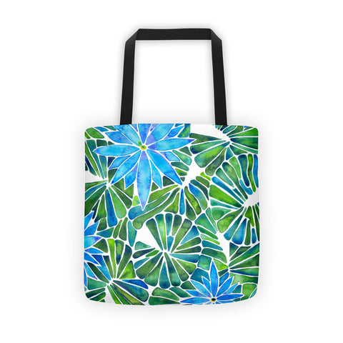 Water Lilies – Blue & Green Palette  •  Tote Bag