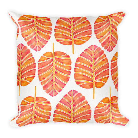 Elephant Ear Alocasia – Melon Palette  •  Square Pillow