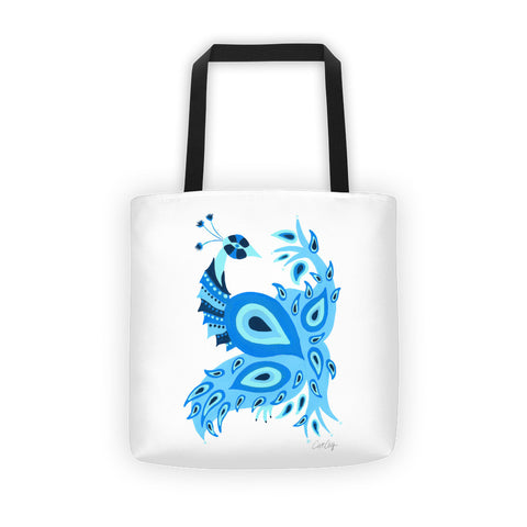 Peacock – Navy & Blue Palette • Tote Bag