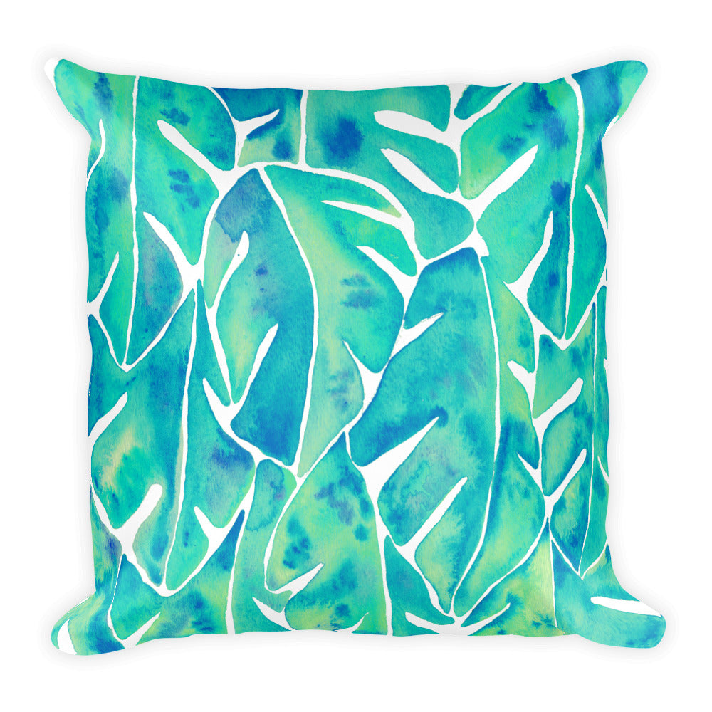 Split Leaf Philodendron – Turquoise Palette • Square Pillow