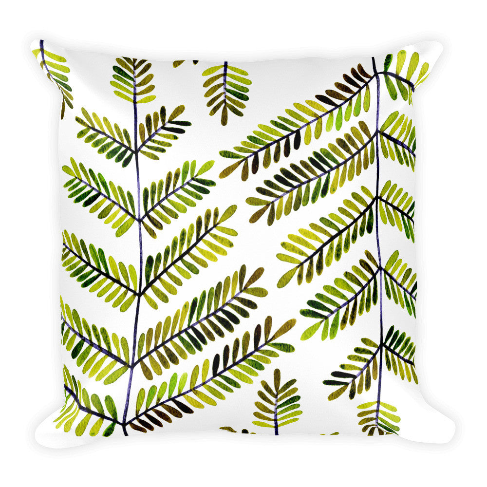 Leaflets – Green Palette • Square Pillow