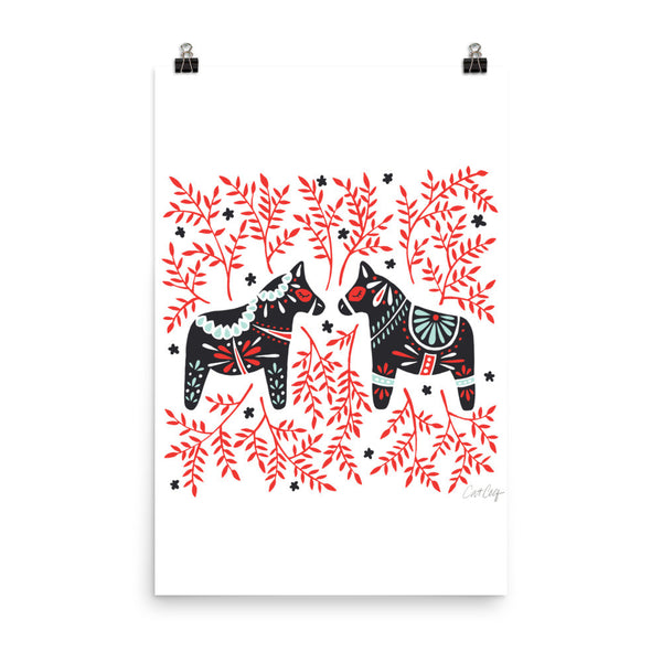Swedish Dala Horses – Black & Red Palette • Art Print