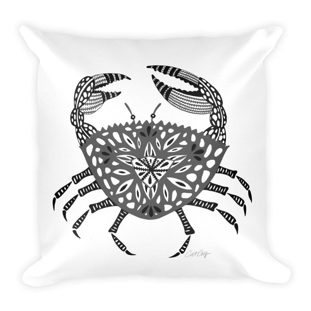 Crab – Black Palette  •  Square Pillow