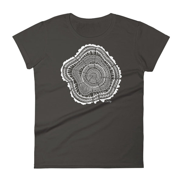 Tree Rings – White Ink • Women's short sleeve t-shirt