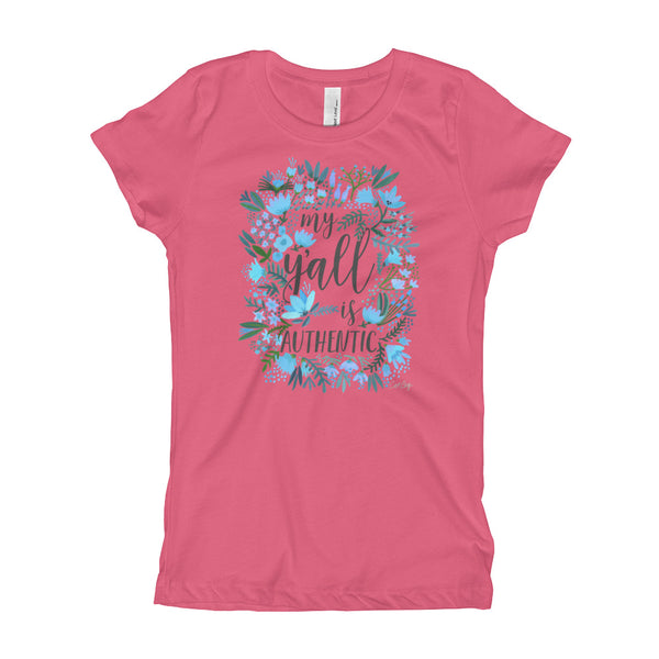 My Y'all is Authentic – Blue Palette • Girl's T-Shirt