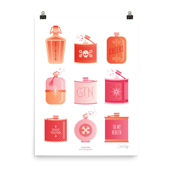 Flask Collection – Peachy Pink Palette • Art Print