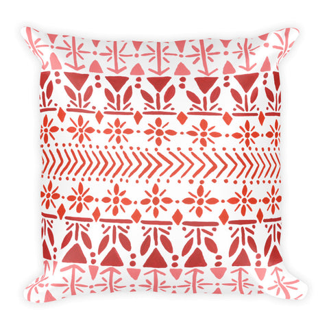 Norwegian Pattern – Red Palette • Square Pillow