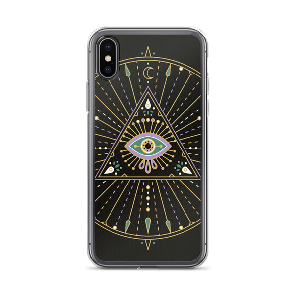 All-Seeing Eye Mandala – Black Palette • iPhone Case