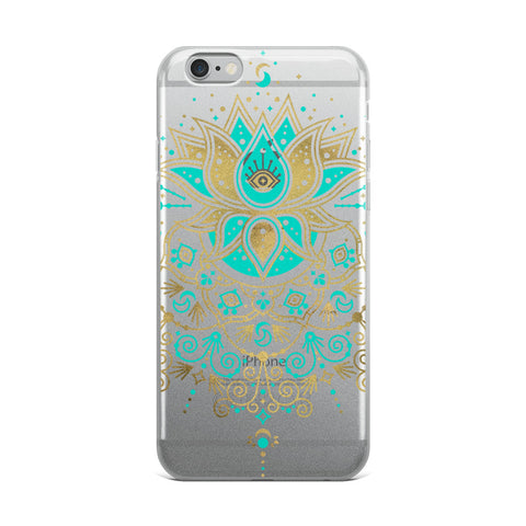 Sacred Lotus Mandala – Turquoise & Gold Palette • iPhone Case