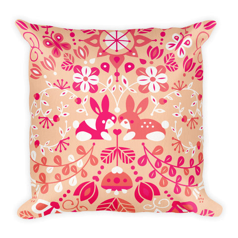 Bunny Lovers – Pink & Peach Palette  •  Square Pillow