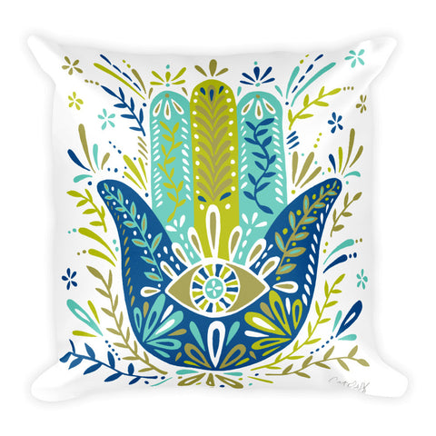 Hamsa Hand – Lime and Blue Palette  •  Square Pillow