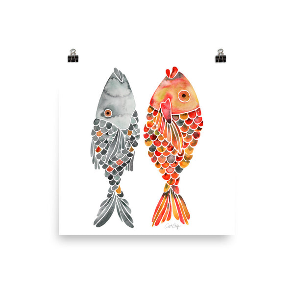 Indonesian Fish – Black & Orange Palette  •  Art Print