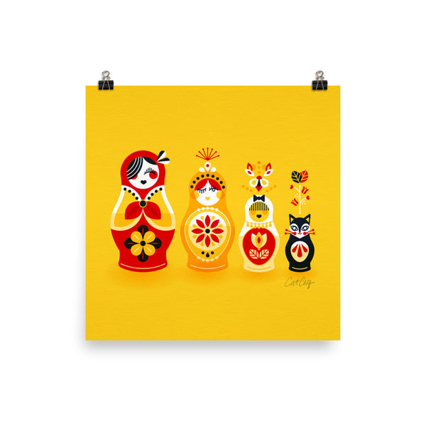Russian Nesting Dolls – Cherry & Yellow Palette • Art Print
