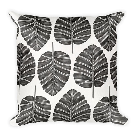 Elephant Ear Alocasia – Black Palette  •  Square Pillow