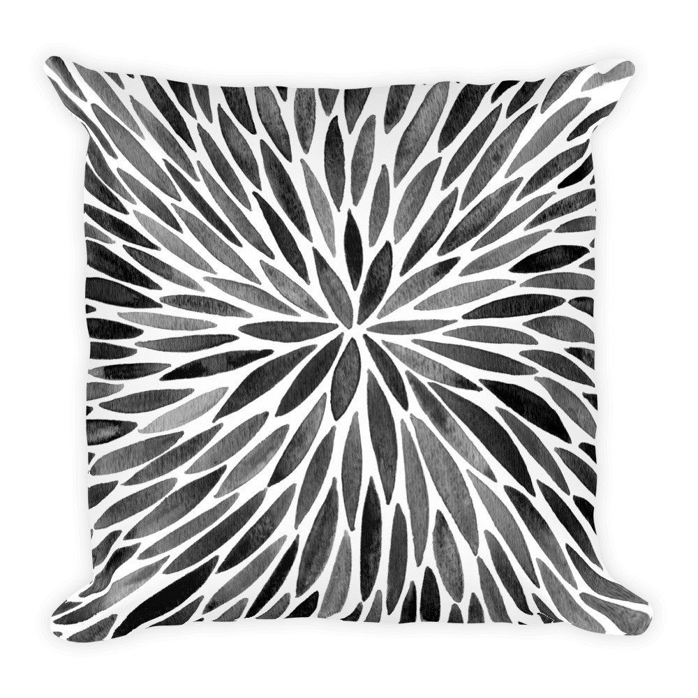 Watercolor Burst – Black Palette  •  Square Pillow