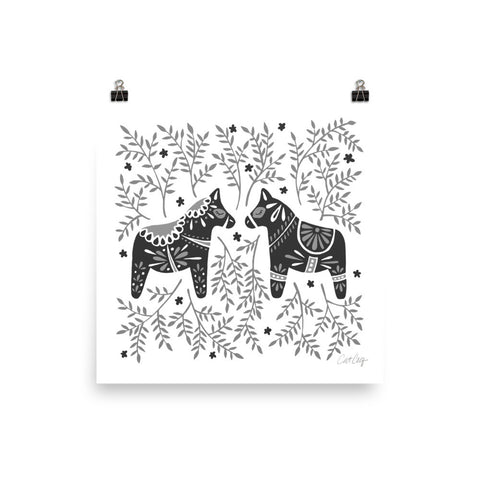 Swedish Dala Horses – Black Palette • Art Print