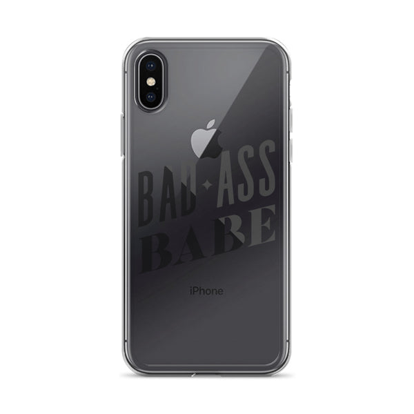 Badass Babe – Black Type • iPhone Case (Transparent)