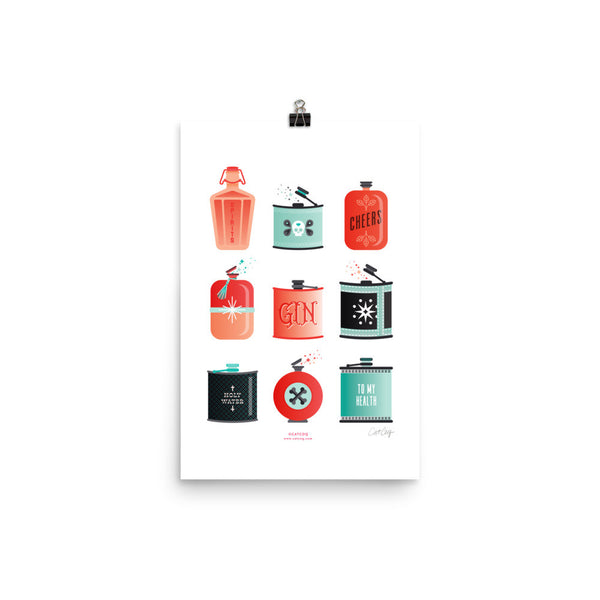 Flask Collection – Red & Mint Palette • Art Print