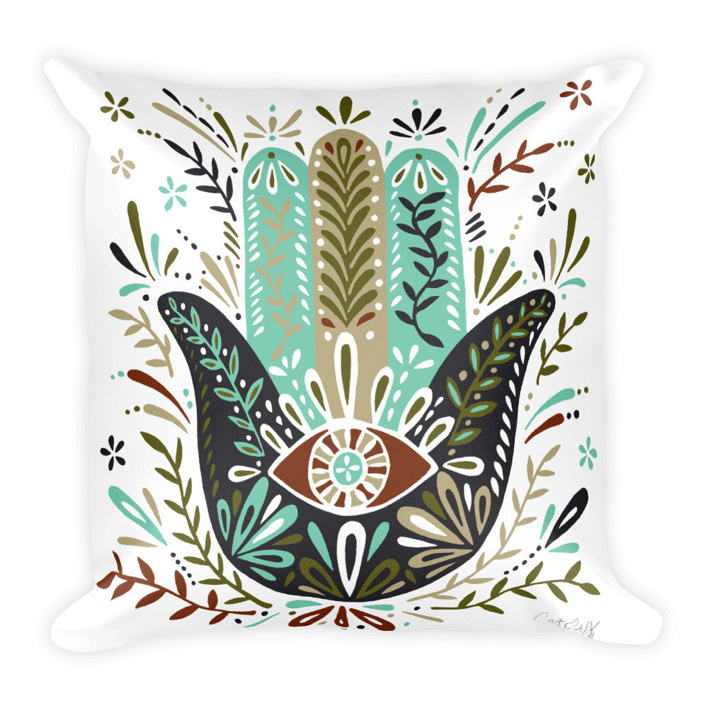 Hamsa Hand – Earth Palette  •  Square Pillow
