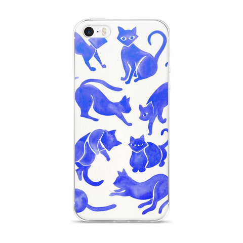 Cat Positions – Blue Palette  •  iPhone 5/5s/Se, 6/6s, 6/6s Plus Case