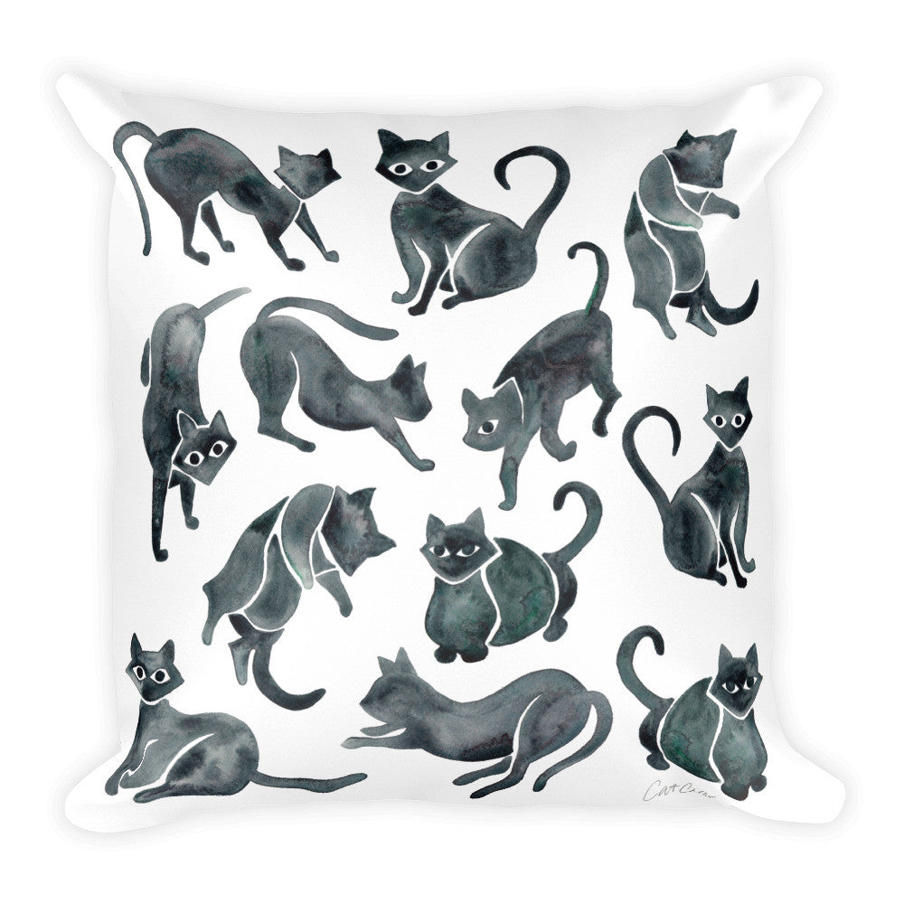 Cat Positions – Black Palette  •  Square Pillow