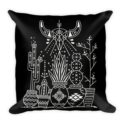 Santa Fe Garden – White Ink on Black  •  Square Pillow