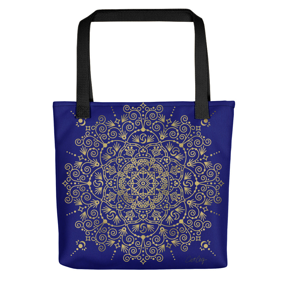 Moroccan Mandala – Gold on Navy • Tote Bag