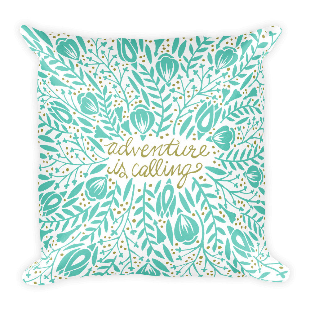 Adventure is Calling – Mint Palette  •  Square Pillow