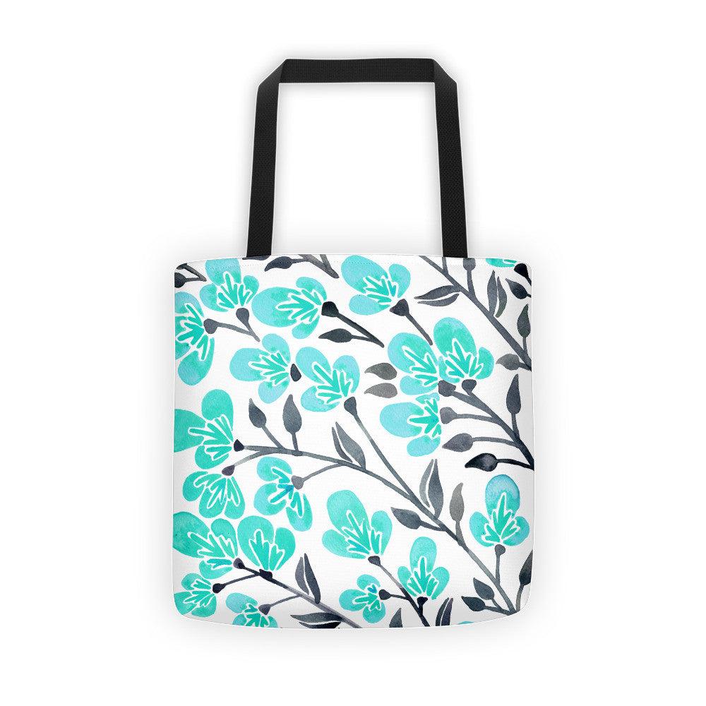 Cherry Blossoms – Turquoise & Grey Palette • Tote Bag
