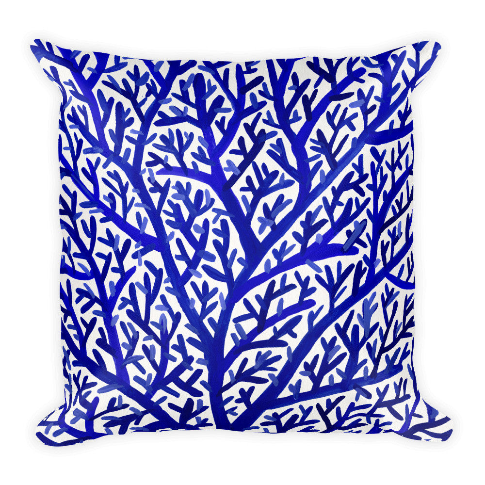 Fan Coral – Navy Palette • Square Pillow