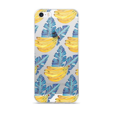 Banana Bunch – Yellow & Blue  •  iPhone 5/5s/Se, 6/6s, 6/6s Plus Case (Transparent)