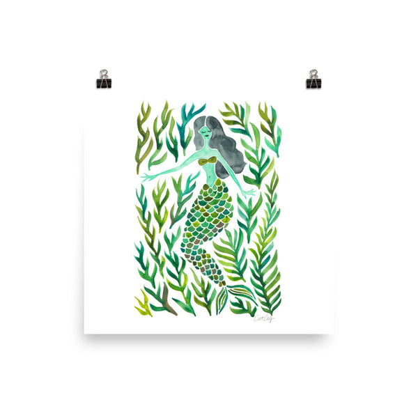 Kelp Forest Mermaid – Green Palette • Art Print