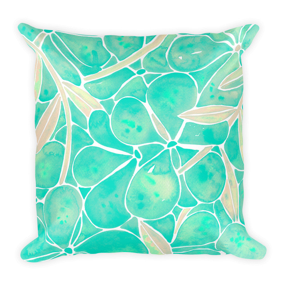 Orchid Wall – Mint Palette  •  Square Pillow