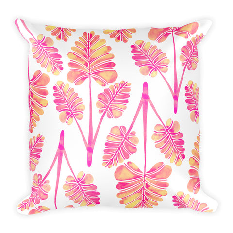 Palm Leaf Trifecta – Pink Palette • Square Pillow