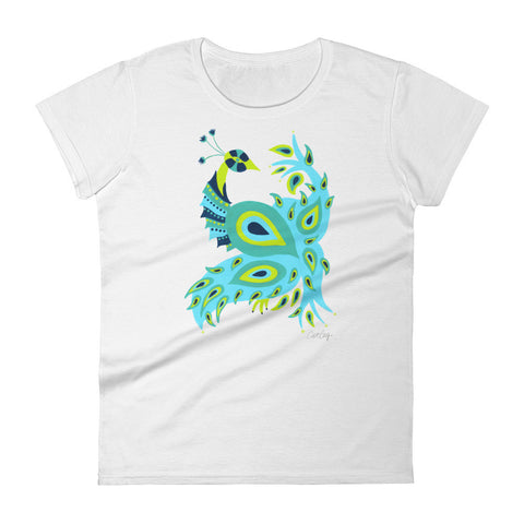 Peacock – Turquoise & Lime Palette • Women's short sleeve t-shirt