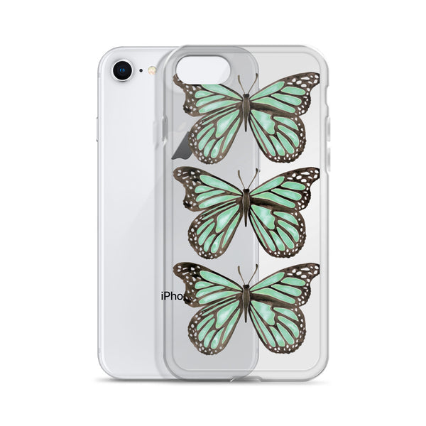 Butterfly – Mint Palette • iPhone Case (Transparent)
