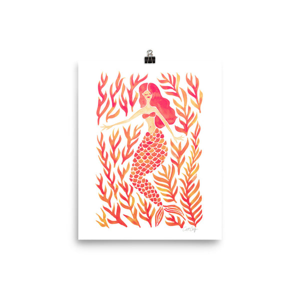 Kelp Forest Mermaid – Peach Palette • Art Print