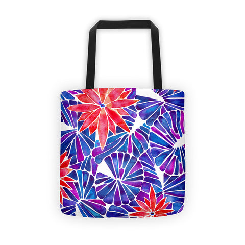 Water Lilies – Cherry & Indigo Palette  •  Tote Bag