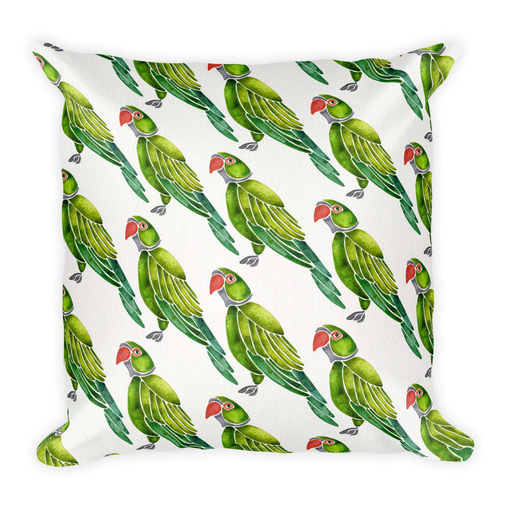 Perched Parrot – Green Palette • Square Pillow