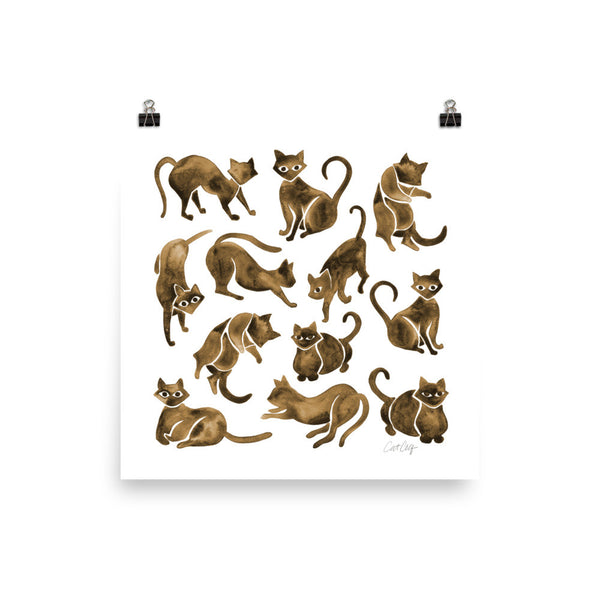 Cat Positions – Sepia Palette • Art Print